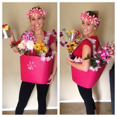Homemade DIY Halloween flower pot costume! Very affordable and simple to make all under about $17! For the flower pot I used a storage tub from big lots for a couple dollars and cut the bottom from the tub. A plastic flower pot will do but this material was a bendable flexible material easy to walk in. I used a strong green ribbon hot glued onto the tube & duct taped for support. Flowers were all duct taped inside. Be creative w/ the idea! I wore this to my serving job n even made flower pen...