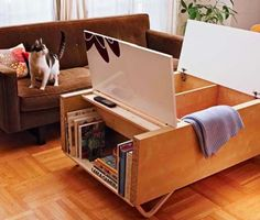 Tutorial for a cool modernist coffee table with storage made from inexpensive Ikea parts!