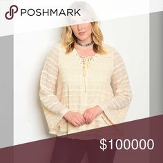 Plus Size- lined lace tie front top! PREORDER Stunning in ivory- lace overlay bell sleeve top with tie front Tops Blouses
