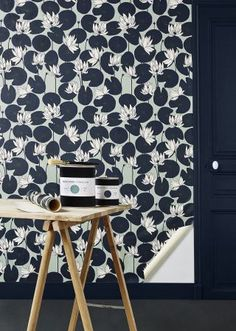 "Barnaby Gates rideau tissu design /""Marrakech Palm/"" 6 mètres bleu nuit"