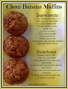 Clean Banana Muffins is part of Healthy clean eating - Clean Banana Muffins, Healthy Muffins, Healthy Sweets, Healthy Baking, Healthy Snacks, Clean Banana Bread, Clean Eating Muffins, Healthy Dishes, Eating Clean