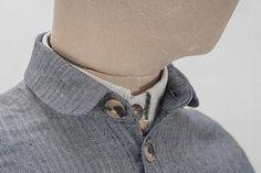 Two-tone blue linen overshirt — S.E.H Kelly