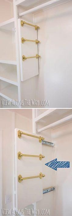 Maximize o espaço do armário fazendo o seu próprio porta lenços e cintos corrediço. | 51 soluções de armazenamento revolucionárias que ampliarão seus horizontes