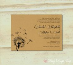 Dandelion wedding invitations larger image invitation card items similar to wedding invitation dandelion silhouette on a textured background invitation and rsvp card with envelopes on etsy stopboris Gallery