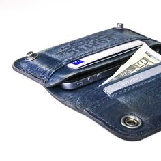 iPhone / iPod Touch - - RETROMODERN aged leather wallet - - BLUE JEANS. $149.00, via Etsy.