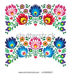 Polish floral folk embroidery patterns for card - wycinanka, Wzory ?owickie - stock vector