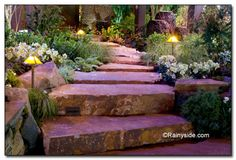 Rock slabs for stairs.