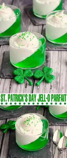 This St. Patrick's Day Jell-o Parfait is so simple to make but it looks absolutely stunning! This St. Patrick's Day Jell-o Parfait is so simple to make but it looks absolutely stunning! Mini Desserts, Holiday Desserts, Holiday Treats, Just Desserts, Holiday Recipes, Green Desserts, Irish Desserts, Cold Desserts, Christmas Snacks