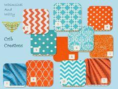 Orange and Aqua Custom 3-Piece Crib Bedding Set