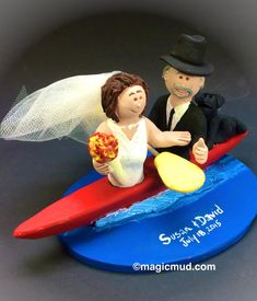Bride and Groom Kayaking Wedding Cake Topper  Kayak Wedding Cake Topper, Personalized Kayaking Custom Made Wedding Cake Topper, created just for you!  $235  #magicmud  1 800 231 9814  www.magicmud.com