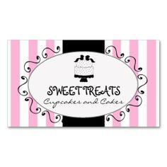 Parisian Pink Stripes Cupcake Cake Bakery Business Card Template