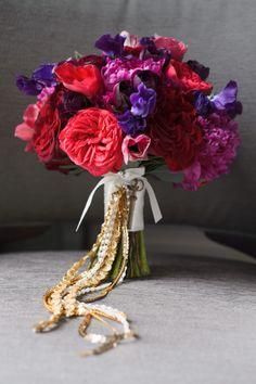 A lush, romantic deep-jeweled toned bouquet | averyhouse | Theknot.com