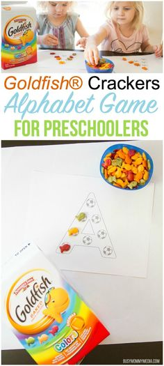This fun Goldfish® crackers Alphabet game for preschoolers is perfect for early letter recognition and such a hit for the little soccer fans in your life, Indoor Activities For Toddlers, Toddler Learning Activities, Preschool Activities, Kids Learning, Kindergarten Learning, Reading Activities, Teaching, Preschool Age, Preschool Letters