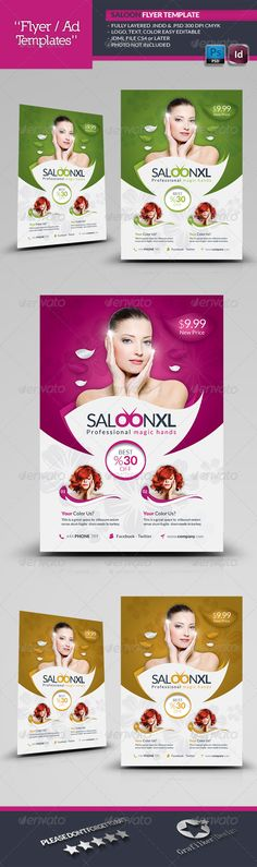 Beauty and Spa Poster Template V01 Print, Template and Skin care - beauty salon flyer template