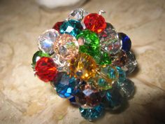 Bejewelled cluster charm adjustable ring by Miriamscreativity, $10.00
