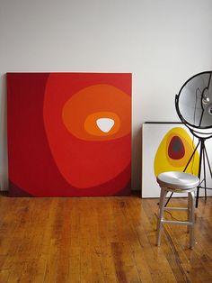 Dee's Bright and Modern Oakland Loft — House Call Abstract Geometric Art, Abstract Wall Art, Geometric Shapes, Mid Century Modern Art, Diy Canvas Art, Wall Art Designs, Oeuvre D'art, Painting Inspiration, Diy Art