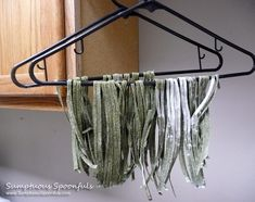 Clothes hangers make great drying racks for homemade pasta!