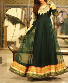 Green floor length anarkali - Outfit #desi #indian #fashion