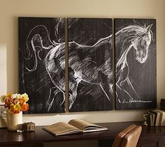 DID IT! It was more difficult to draw this horse than I thought! Planked Horse Triptych #potterybarn