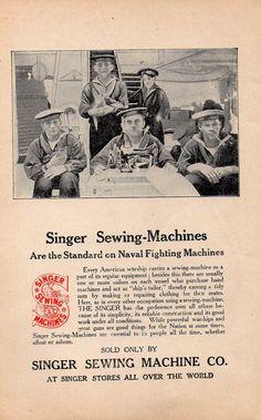 Original Vintage Antique Singer Sewing Machine Advertisement Print Ad Circa 1910s Battleship Naval Ship Photo Carl Speck