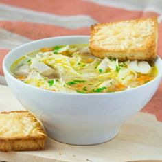 Chicken Noodle Soup with Cheese Crusties