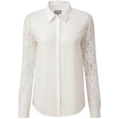 Pure Collection Miriam Lace Sleeve Silk Blouse ($96) ❤ liked on Polyvore featuring tops, blouses, shirts, wardrobe, silk shirt, silk top, layered collared shirts, double layer shirt and silk blouse