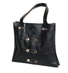 Vintage GIANNI VERSACE Safety Pin Bag Black Pebbled by StatedStyle,  975.00 1030cab701