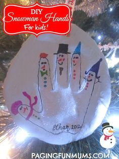 DIY Snowman Hands! A gorgeous Christmas Tree Ornament Keepsake.