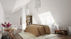 Scandinavian Bedroom Design Dominant With White Color Theme - RooHome | Designs & Plans