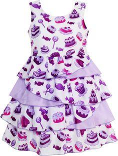 Girls Dress Cake Candy Birthday Layered Tulle Purple Size 4-10 Years