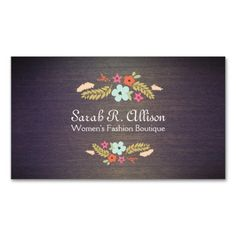 Cute Vintage Boutique Flowers Wood Floral Business Cards. I love this design! It is available for customization or ready to buy as is. All you need is to add your business info to this template then place the order. It will ship within 24 hours. Just click the image to make your own!