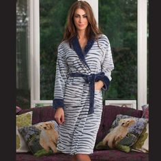 5cbea73b22 Navy Luxury Zebra Print Fleece Dressing Gown - 8 10 12 14 16