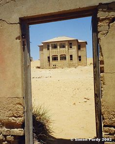 *GHOST TOWN, KOLMANSKOP, NAMIBIA:  Kolmanskop is a ghost town in southern Namibia founded in 1908, when diamonds were discovered in the area. Following WWI, the town went into decline, as the world diamond price fell, + Namibia's producing hub moved to Oranjemund. The town was completely abandoned in 1956, + today the desert is slowly encroaching on the town's remains.