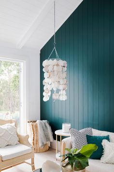 Three Birds Renovations use Axon Cladding to add emphasis and texture to this stunning green feature wall. Coastal Living Rooms, Living Room Decor, Dining Room, Coastal Cottage, Coastal Homes, Nature Green, Three Birds Renovations, Relax, Decoration