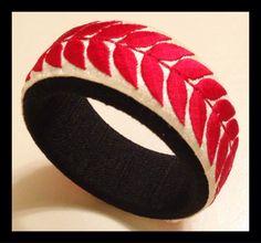 Red embroidered bangle with threaded base by NatashaGuptaJewelry, $85.00
