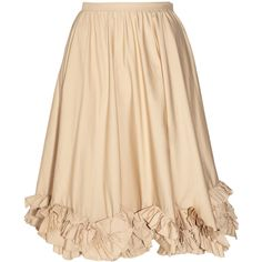 Valentino Ruffled stretch cotton-blend skirt (€410) ❤ liked on Polyvore featuring skirts, bottoms, faldas, gonne, frilled skirt, flouncy skirt, valentino skirt, beige skirt and ruffle skirt