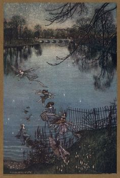 Beautiful fairy artwork by Arthur Rackham from 'Peter Pan in Kensington Gardens'