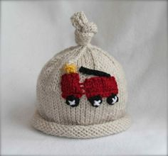 baby boy knit hat with fire truck applique  sizes by SarahLamont, $31.00