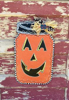 Mason Jar Door Hanger, Pumpkin Door Hanger, Halloween Decor, Fall Decor…