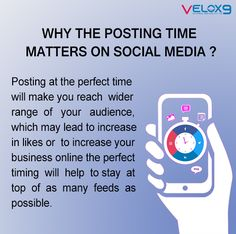 The timing is very important...... On social media to ensure that you make a presence over maximum number of feeds as possible among your followers, then it is very essential that at what time you post. If the timing is perfect then it helps to gain a lot of attention. However there are no rules that will guarantee the perfect time to post on your social media accounts. Different platforms need specific different timing. This may also help to grow your business online using social media. Online Marketing Services, Best Digital Marketing Company, Social Media Marketing, Reputation Management, Perfect Timing, Lead Generation, Digital Media, Platforms, Gain