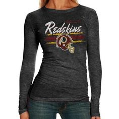 Washington Redskins Ladies Helmet Tri-Blend Long Sleeve T-Shirt - Black
