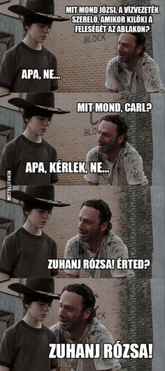 funny meme horror memes humor funny meme twd the walking dead Rick Grimes Andrew Lincoln carl grimes chandler riggs dad jokes Walking Dead Funny, Walking Dad Jokes, Walking Dead Coral, Carl The Walking Dead, The Walk Dead, Rick Grimes, Twd Memes, Funny Memes, Memes Humor