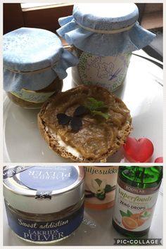 RABARBER-LAKRIDS MARMELADE: kog 600 g rabarber i stykker med 250 g sukker i 8-10 min. Tilsæt 1 tsk. vaniljesukker, 1 tsk. lakridspulver og 1 tsk. appelsindrops fra Bodylab. Tilsæt herefter 2 tsk. melatin. Kog op i 1 min. Fyld på atamonskyllede glas.
