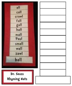 "Dr. Seuss activities: FREE Cat in the Hat-Seuss Hat ""Rhyme Time"" packet. Teachers assign a word or give students a choice. They write that word on the brim & then make up an alphabetical list of words that rhyme with it. Include a nonsense word too & define it on the back of the bookmark. Cute bulletin board: ""Hats Off to Wonderful Word Work!"""