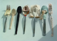 cutlery_unframed (via Laura_ Jaine) thought provoking mixed media and textile art contemporary abstract art installation Textiles, Mode Portfolio Layout, Bric À Brac, Instalation Art, Bokashi, Art Textile, Everyday Objects, Art Object, Food Art