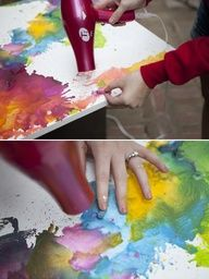 a cool way to do melted crayon art.  hold the crayon down and blow dry it till you have a puddle of color. repeat with more colors till its an abstract rainbow :)