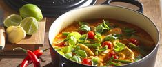 Thai Red Chicken Curry with Green Beans, Cherry Tomatoes and Basil
