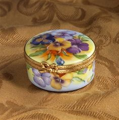 Limoges Pansies Round Box The Cottage Shop