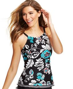 4f06ec07f5fd0 24th   Ocean Floral Ruffled Tankini Top Black Tankini