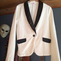 Sequined accent tuxedo jacket sweatshirt Sweat shirt material, very stretchy and soft but still a tuxedo jacket fit for the ball! :) BONGO Jackets & Coats Blazers
